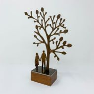 David Mayne 'Tree Gazing Couple' Oxidised Steel Sculpture